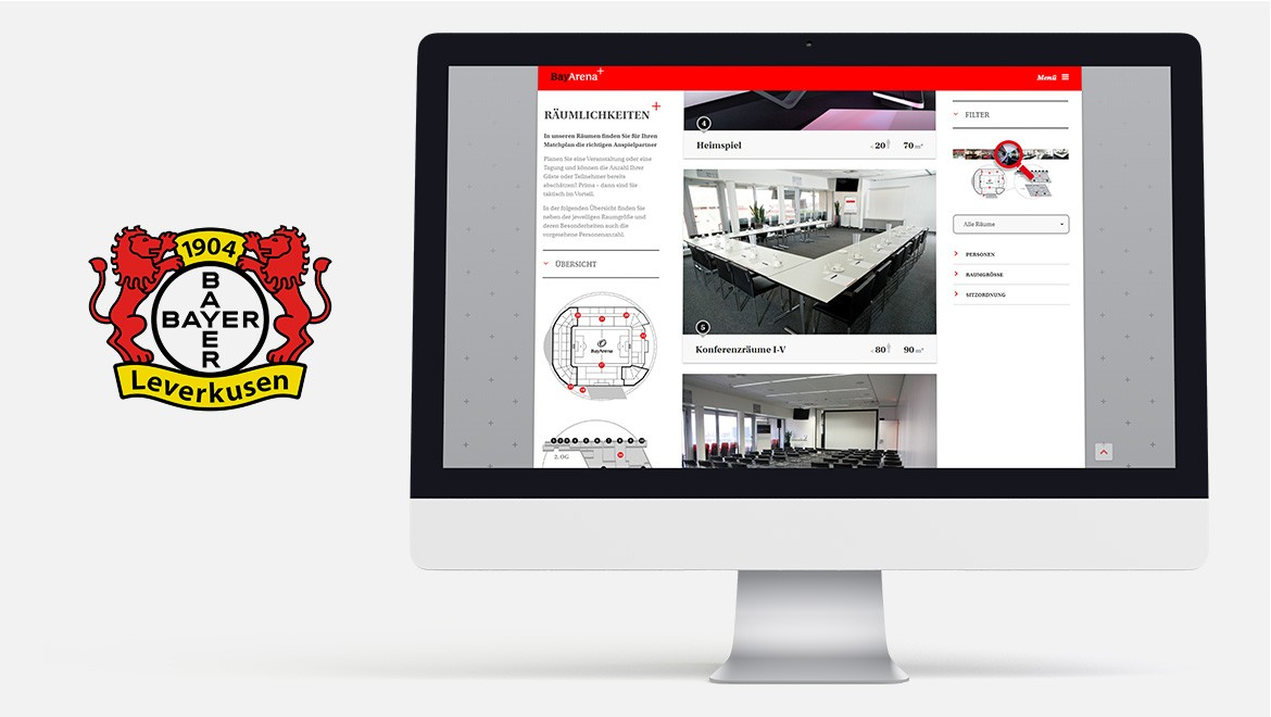 Umsetzung BayArena-Plus Website